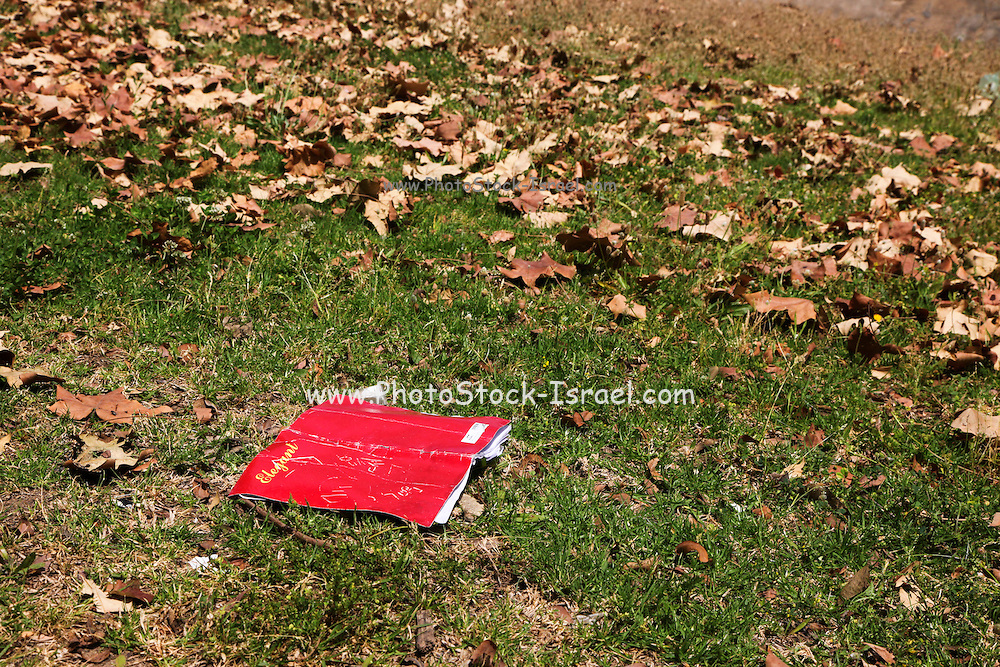 Open notebook on the lawn
