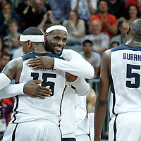 02 August 2012: Carmelo Anthony is congratulated by LeBron James during 156-73 Team USA victory over Team Nigeria, during the men's basketball preliminary, at the Basketball Arena, in London, Great Britain.