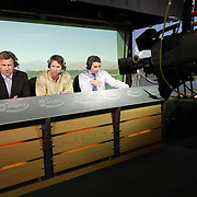PALM DESERT, CA- January 22, 2006:  ABC Sports analysts Nick Faldo and Paul Azinger, left and center, work at the Bob Hope Chrysler Classic in Palm Desert, California on January 22, 2006.  (Photo by Todd Bigelow/Aurora)