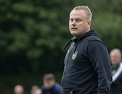 Cheftræner Kasper Larsen (Bispebjerg Boldklub) under kampen i Sydbank Pokalen, 1. runde, mellem Bispebjerg Boldklub og FC Helsingør den 2. september 2020 i Lersø Parken (Foto: Claus Birch).