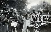 German General Alexander von Kluck (20 May 1846 – 19 October 1934) was a German general during World War I;.  seated in car with staff, at army manoeuvres.