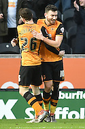 Hull City midfielder Robert Snodgrass (10) celebrates scoring his goal with Hull City defender Andrew Robertson (26)  to go 4-0 up during the Sky Bet Championship match between Hull City and Charlton Athletic at the KC Stadium, Kingston upon Hull, England on 16 January 2016. Photo by Ian Lyall.