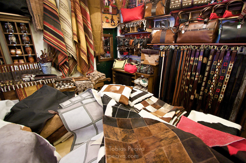Interior of a leather goods store in Palermo Soho, Buenos Aires.