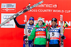 Baptiste Gros (FRA), Federico Pellegrino (ITA) and Richard Jouve (FRA) during Man 1.2 km Free Sprint race at FIS Cross Country World Cup Planica 2016, on January 16, 2016 at Planica, Slovenia. Photo By Urban Urbanc / Sportida