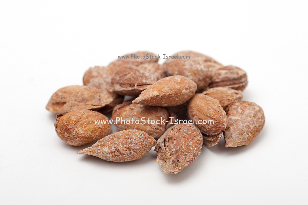 salted Almonds in shell On white Background