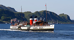 Waverley is one of the world's greatest historic ships – the last sea-going paddle steamer in the world. Waverley starts her season sailing amidst the stunning scenery of the Western Isles . Seen here departing Oban for Kyles of Lochalsh this morning (c) Stephen Lawson | Edinburgh Elite media