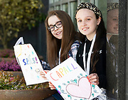 07/04/2019 repro free: Isabel Dunbar  and Sienna Ní Dhonnchù from  4th class Scoil Dara Renmore with their books at Scriobh Leabhair organised by The Galway Education centre and help at the Salthill Hotel  . Photo: Andrew Downes, Xposure