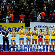 Rabita BAKU's players during their Women's Volleyball CEV Champions League semi final match at Burhan Felek Arena in Istanbul, Turkey on 20 March 2011. Photo by TURKPIX