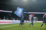 Angel Di Maria (psg) scored the first goal, celebration with Edinson Roberto Paulo Cavani Gomez (psg) (El Matador) (El Botija) (Florestan) during the French Cup, quarter final football match between Paris Saint-Germain and Olympique de Marseille on February 28, 2018 at Parc des Princes Stadium in Paris, France - Photo Stephane Allaman / ProSportsImages / DPPI