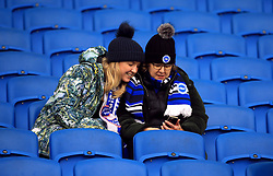 Brighton and Hove Albion fans in the stands before the match