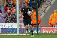 Bradford city forward Eoin Doyle picks the ball from out the net after Bradford city forward George Miller scores a goal to make it 2-1 during the EFL Sky Bet League 1 match between Doncaster Rovers and Bradford City at the Keepmoat Stadium, Doncaster, England on 22 September 2018.
