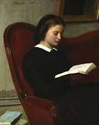 The Reader - Marie Fantin-Latour, Sister of the Artist': 1861, oil on canvas. Henri Fantin-Latour (1836-1904) French painter.