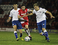 Kidderminster Harriers' Callum Gittings battles with FC Halifax Town's Marc Roberts (right) and Phil Senior<br /> <br /> (Photo by Rich Linley/CameraSport)<br /> <br /> Football - The Skrill Premier - Kidderminster Harriers v FC Halifax Town - Tuesday 24th September 2013 - Aggborough Stadium - Kidderminster<br /> <br /> © CameraSport - 43 Linden Ave. Countesthorpe. Leicester. England. LE8 5PG - Tel: +44 (0) 116 277 4147 - admin@camerasport.com - www.camerasport.com<br /> <br /> (Photo by Rich Linley/CameraSport)<br /> <br /> Football - The Skrill Premier - Kidderminster Harriers v FC Halifax Town - Tuesday 24th September 2013 - Aggborough Stadium - Kidderminster<br /> <br /> © CameraSport - 43 Linden Ave. Countesthorpe. Leicester. England. LE8 5PG - Tel: +44 (0) 116 277 4147 - admin@camerasport.com - www.camerasport.com