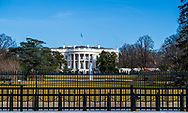 Washington, DC, USA — February 3, 2020.<br /> Photo of the White House on a crisp and clear winter morning.