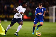 Serge Aurier of Tottenham Hotspur (l) in action .Premier league match, Leicester City v Tottenham Hotspur at the King Power Stadium in Leicester, Leicestershire on Tuesday 28th November 2017.<br /> pic by Bradley Collyer, Andrew Orchard sports photography.