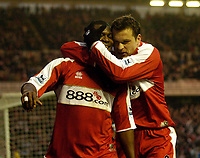 Photo: Jed Wee.<br />Middlesbrough v Charlton Athletic. The Barclays Premiership. 23/12/2006.<br /><br />Middlesbrough's Yakubu (L) is congratulated by Mark Viduka after scoring.