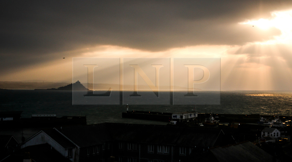 © Licensed to London News Pictures. 25/02/2018. Penzance, UK. First light at St Michaels Mount, Penzance, Cornwall on a cold winter morning. A sharp drop in temperatures is expected across the UK this week, with large parts due to be hit by heavy snowfall. Photo credit: Jason Bryant/LNP