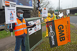 © Licensed to London News Pictures 08/01/2021.         Sidcup, UK. Staff protesting in Sidcup, South East London this afternoon. British Gas staff are on the picket line with a five day strike in a row over new contracts. Thousands of engineers have walked out over an attempt by Centrica the owners of British Gas to push through new terms in a fire and rehire row.  Photo credit:Grant Falvey/LNP