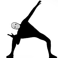performer man mime with mask stretching flexibility on studio isolated on white background
