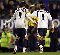 Photo: Paul Thomas.<br /> Everton v Tottenham Hotspur. The Barclays Premiership. 21/02/2007.<br /> <br /> Tottenham players Dimintar Berbatov (9) and Jermaine Jenas confront Referee Mr U Rennie after Everton score, as they believe they shouldn't have had the free kick.