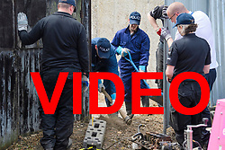 VIDEO AVAILABLE HERE: https://we.tl/Tjv2uMIqTo<br /> <br /> © Licensed to London News Pictures. 16/05/2017. London, UK. Members of a police search team use digging equipment as the search continues for the body of murdered schoolgirl Danielle Jones at a block of garages in Stifford Clays in Thurrock, Essex. The 15-year-old was last seen on Monday June 18 2001 at about 8am when she left her home in East Tilbury to catch the bus to school.  Photo credit: Ben Cawthra/LNP