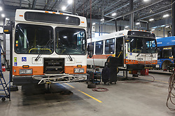 March 21, 2019 - Mississauga, Ontario, Canada - Buses at a Mississauga Transit maintenance facility on March 21, 2019 in Mississauga, Ontario, Canada. (Credit Image: © Creative Touch Imaging Ltd/NurPhoto via ZUMA Press)