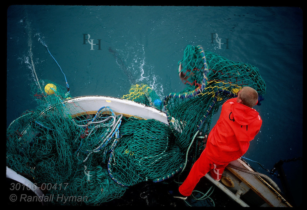 Overhead view of fisherman casting net into sea from the stern of a gillnet boat in Faxafloi Bay. Iceland