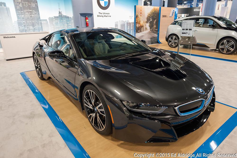 MIAMI BEACH, FL, USA - NOVEMBER 6, 2015:  BMW i8 on display during the 2015 Miami International Auto Show at the Miami Beach Convention Center in downtown Miami Beach.