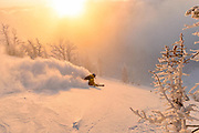 Tanner Flanagan, Teton pow, Wyoming // Tanner dropping into a magical morning in the Tetons - you never know unless you go. Probably the best dawn patrol of the season in terms of snow and light.