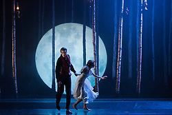 """© Licensed to London News Pictures. 07/12/2012. London, England. Ben Bunce as Caradoc and Hannah Vassallo as Aurora. World premiere of Matthew Bourne's """"Sleeping Beauty"""" at Sadler's Wells. Running from 4 December 2012 to 26 January 2013. Photo credit: Bettina Strenske/LNP"""