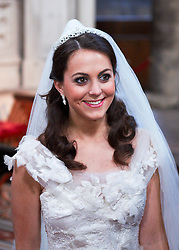 STRICT EMBARGO TO 00:01 FRIDAY 15 APRIL 2011 © licensed to London News Pictures. LONDON, UK  12/04/11. Katherine Middleton. The filming of a new T-Mobile advert in which Kate Middleton and Prince William lookalikes pretend to get married at a mock royal wedding. The filming took place at St Bartholomew the Great Church in London. All the main royal family members and the Arch Bishop of Canterbury were played by actors. The actors danced down the aisle with moves choreographed by Louie Spence. Please see special instructions. Photo credit should read Cliff Hide/LNP.
