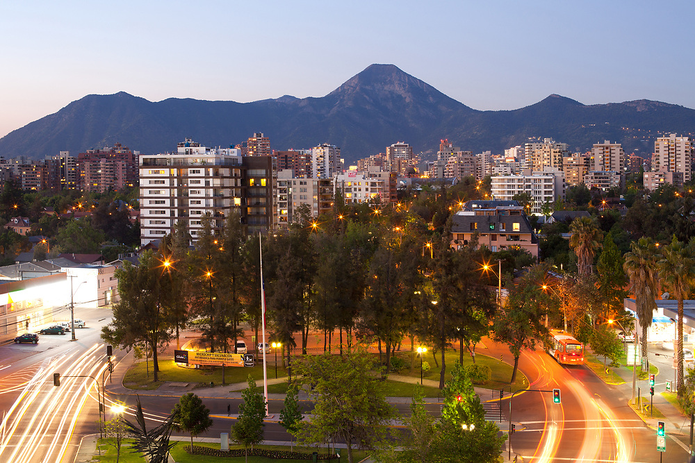 Santiago, Region Metropolitana, Chile - A residential neighborhood and Manquehue hill in the back at the wealthy district of Las Condes.