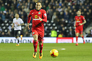 Blackburn Rovers midfielder Elliott Bennett on the attack during the Sky Bet Championship match between Derby County and Blackburn Rovers at the iPro Stadium, Derby, England on 24 February 2016. Photo by Aaron  Lupton.