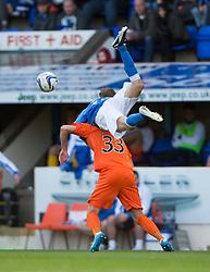 St Johnstone's Murray Davidson over Kilmarock's Robbie Muirhead.<br /> St Johnstone 1 v 2 Kilmarock, SPL game played at McDrarmid Park.