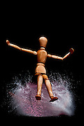 mannequin on an exploding water balloon. Stop motion High-Speed photography technique