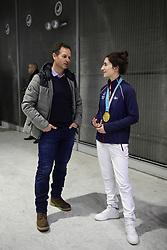 February 15, 2018 - Paris, France, France - Edgar Grospiron et  Perrine Laffont - championne Olympique  Ski de bosses aux JO de Pyeongchang (Credit Image: © Panoramic via ZUMA Press)
