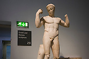Statue of a victorious athlete, a Roman version of a Greek bronze original of about 440-430BC, found by the Roman theatre at Vaison, France but perhaps from a nearby villa. Known as Diadoumensos, it represents a triumphant athlete tying a ribbon round his head. At Greek festivals, it was the custom to give red ribbons to the winners of games. He may symbolise athletic victories in general, rather than an individual.