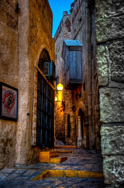 Narrow lane between houses in old Jaffa