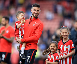 Southampton's Shane Long with his children does the lap of appreciation during the Premier League match at St Mary's Stadium, Southampton.