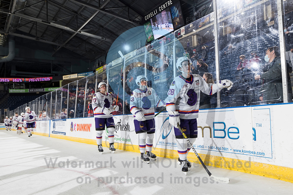 The Youngstown Phantoms defeat the Chicago Steel 5-2 at the Covelli Centre on January 23, 2021.<br /> <br /> Dylan Gratton, defenseman, 28; Cole Burtch, forward, 93; Winter Wallace, forward, 77