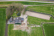 Nederland, Beemster, Westdijk, 16-04-2012; Roan, manege IJslandse paarden met stallen en buitenbak.  Beemster, .Roan, icelandic horses breeder and riding school with stables and arena in the middle of the polder Beemster..luchtfoto (toeslag), aerial photo (additional fee required).foto/photo Siebe Swart