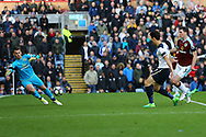 Son Heung-Min of Tottenham Hotspur puts the ball past Burnley Goalkeeper Thomas Heaton to scorehis teams 2nd goal. Premier League match, Burnley v Tottenham Hotspur at Turf Moor in Burnley , Lancs on Saturday 1st April 2017.<br /> pic by Chris Stading, Andrew Orchard sports photography.