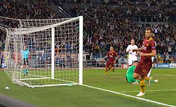 October 2, 2018 - Rome, Italy - Edin Dzeko kicks goal 1-0 during the UEFA Champions League match group G between AS Roma and Viktoria Plzen at the Olympic stadium on october 02, 2018 in Rome, Italy. (Credit Image: © Silvia Lore/NurPhoto/ZUMA Press)