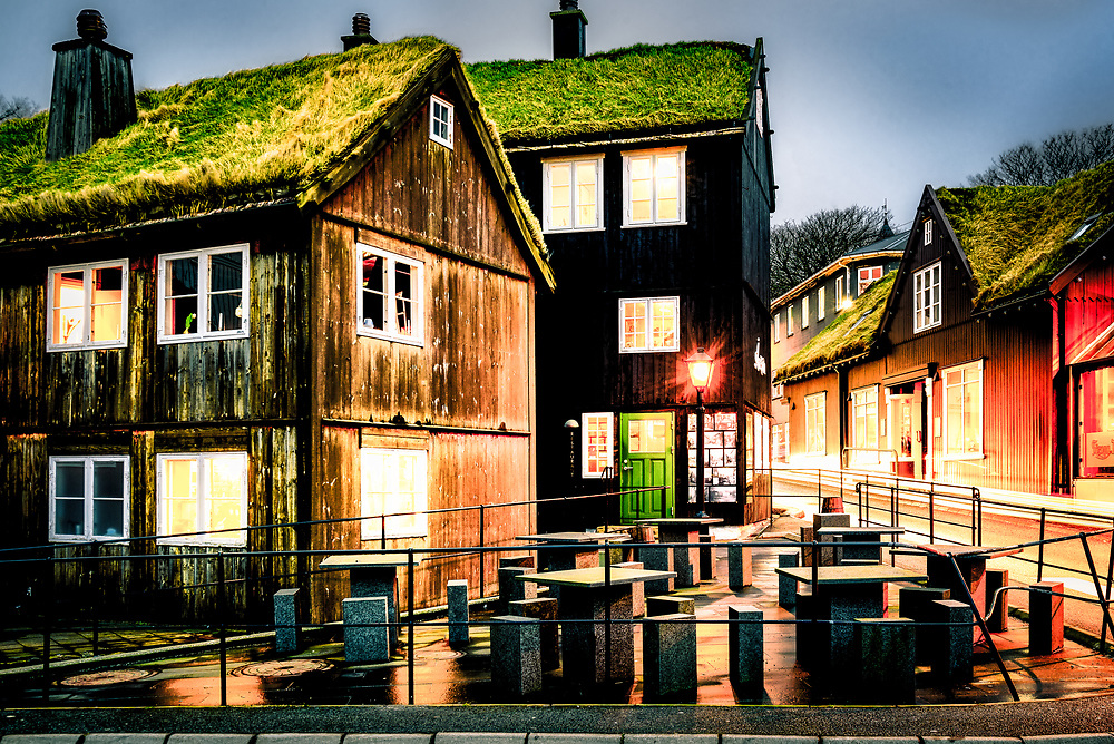 Traditional black tarred timber and grass roofs in TÛrshavn