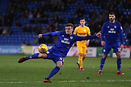 Rhys Healey of Cardiff city has a shot at goal.  EFL Skybet championship match, Cardiff city v Preston North End at the Cardiff city stadium in Cardiff, South Wales on Friday 29th December 2017.<br /> pic by Andrew Orchard, Andrew Orchard sports photography.