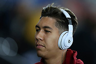 Roberto Firmino of Liverpool arrives ahead of the game. Premier league match, Swansea city v Liverpool at the Liberty Stadium in Swansea, South Wales on Monday 22nd January 2018. <br /> pic by  Andrew Orchard, Andrew Orchard sports photography.