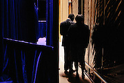 Dr. Ben Carson, center, a retired neurosurgeon, and his wife, Candy, wait backstage while he is introduced to speak during the final day of the Conservative Political Action Conference (CPAC) at the Gaylord National Resort & Convention Center in National Harbor, Md.