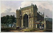 The Entrance to the Mausoleums, in Sultan Khusero's Garden, near Alahabad, 1801 From the book ' Oriental scenery: one hundred and fifty views of the architecture, antiquities and landscape scenery of Hindoostan ' by Thomas Daniell, and William Daniell, Published in London by the Authors May 1, 1813