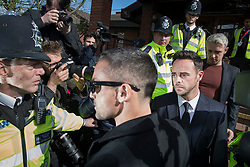 © Licensed to London News Pictures. 16/04/2018. London, UK. TV presenter ANT MCPARTLIN (R) leaves Wimbledon Magistrates Court in London where he pleaded guilty to drink driving. Photo credit: Peter Macdiarmid/LNP
