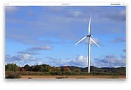 A wind turbine in the rural countryside of northern Michigan during autumn, USA